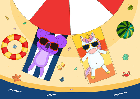 Hand drawn vector illustration of a cute koala and unicorn in sunglasses lying on towels, in the shade of a beach umbrella, with swim ring and watermelon. Isolated objects. Design concept for children