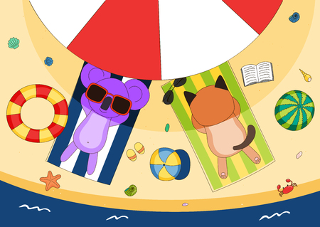 Hand drawn vector illustration of a cute cat and koala in sunglasses lying on towels, in the shade of a beach umbrella, with swim ring and watermelon. Isolated objects. Design concept for children.