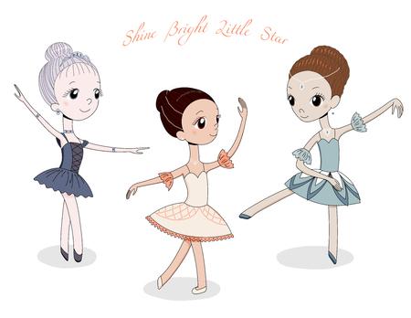 Hand getrokken vectorillustratie van schattige kleine ballerina meisjes in verschillende poses en kleuren, tekst Shine heldere kleine ster. Geïsoleerde objecten op witte achtergrond. Ontwerpconcept voor kinderen, dansen.