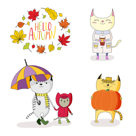 Hand drawn vector illustration of cute cats, in rain coat, with umbrella, pumpkin, paper cup, with wreath of leaves and text Hello Autumn. Isolated objects on white background. Design concept for kids Illustration