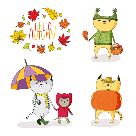 손으로 그린 벡터 일러스트 레이 션의 우산, 버섯, 호박, 나뭇잎 및 텍스트의 화 환 비가 코트에 귀여운 고양이 안녕하세요. 흰색 배경에 고립 된 개체입니다. 어린이를위한 디자인 컨셉 스톡 콘텐츠 - 88891390