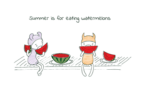 Hand drawn vector illustration of funny cartoon creatures in striped jump suits and hats, text Summer is for eating watermelons. Design concept for children - postcard, poster, sticker, T-shirt print.