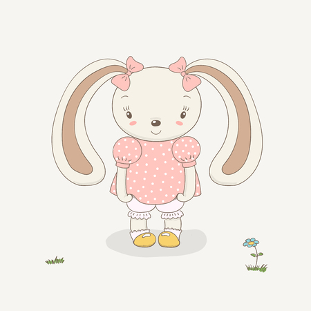 Hand drawn vector illustration of a cute little smiling plump bunny girl in a pink dress, knickers, socks, shoes, with pink ribbons on her ears. Coloured isolated objects. Design concept for children.