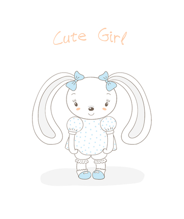 Hand drawn vector illustration of a little smiling plump bunny girl in a polka dots dress, shoes, with blue ribbons, text Cute girl. Isolated objects on white background. Design concept for children.