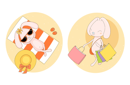 Hand drawn vector stickers of a cute pink bunny in sunglasses on the beach, with straw hat and flip flops, and with many shopping bags. Isolated objects on white background. Design concept for girls. Illustration