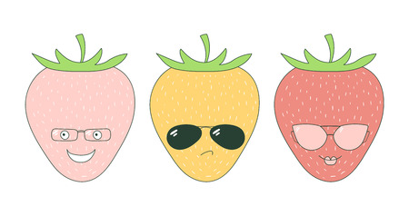 scrap book: Set of hand drawn cute funny stickers with pink, orange and red strawberries wearing different glasses. Isolated objects on white background. Vector illustration Design concept for children.