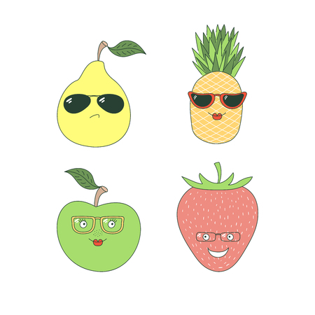 Set of hand drawn cute funny stickers with different fruits (pineapple, pear, apple, strawberry) in glasses. Isolated objects on white background. Vector illustration Design concept for children.