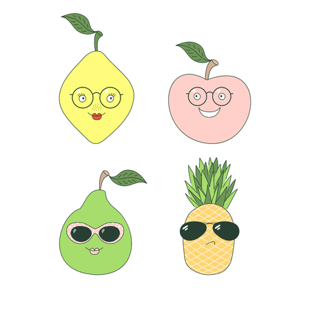 Set of hand drawn cute funny stickers with different fruits (pineapple, pear, apple, lemon) in glasses. Isolated objects on white background. Vector illustration Design concept for children.
