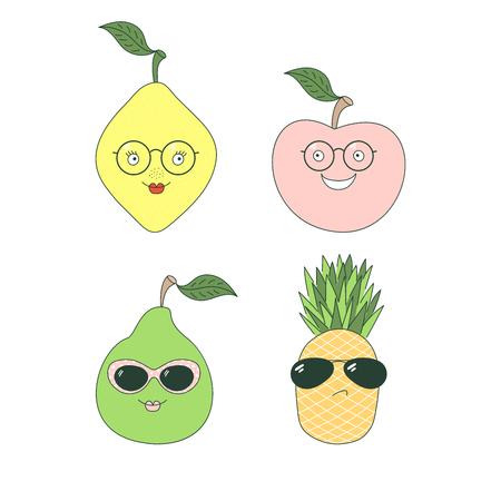 Set van hand getrokken leuke grappige stickers met verschillende vruchten (ananas, peer, appel, citroen) in glazen. Geïsoleerde objecten op witte achtergrond. Vectorillustratie Ontwerpconcept voor kinderen.