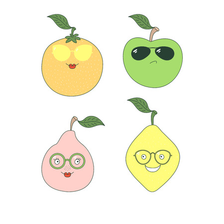 Set of hand drawn cute funny stickers with different fruits (pear, apple, orange, lemon) in glasses. Isolated objects on white background. Vector illustration Design concept for children.
