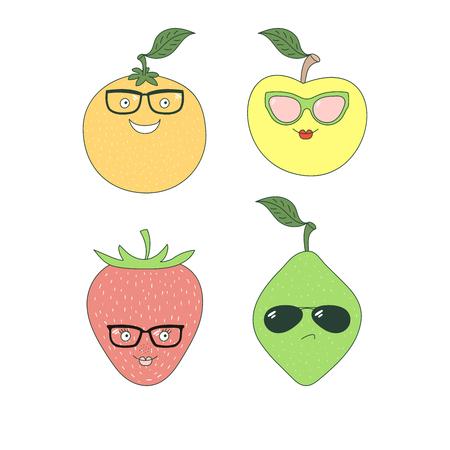 手のセットは、ガラスのさまざまな果物 (リンゴ、オレンジ、ライム、イチゴ) とかわいい面白いステッカーを描画します。白い背景の上の孤立した