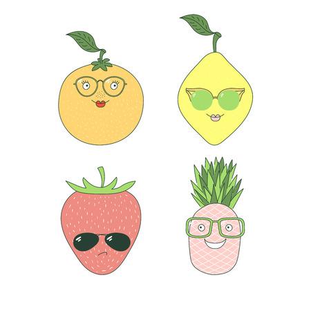 手のセットは、ガラスのさまざまな果物 (パイナップル、オレンジ、レモン、イチゴ) とかわいい面白いステッカーを描画します。白い背景の上の孤