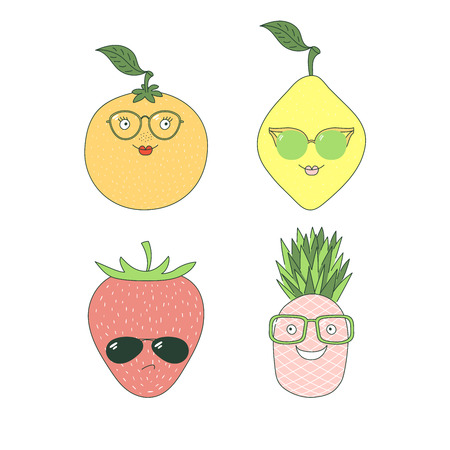 Set of hand drawn cute funny stickers with different fruits (pineapple, orange, lemon, strawberry) in glasses. Isolated objects on white background. Vector illustration Design concept for children. Ilustração