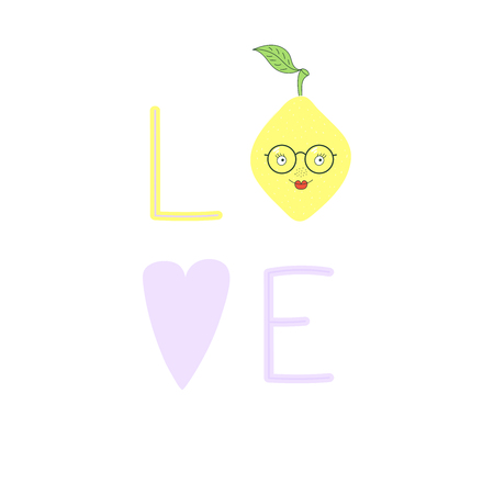 Hand drawn typographic poster with word love, heart and cute funny lemon in glasses. Isolated objects on white background. Vector illustration Design concept for children.