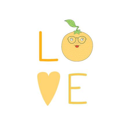 Hand getekend typografische poster met woord liefde, hart en schattige grappige oranje in glazen. Geïsoleerde objecten op witte achtergrond. Vectorillustratie Ontwerpconcept voor kinderen.