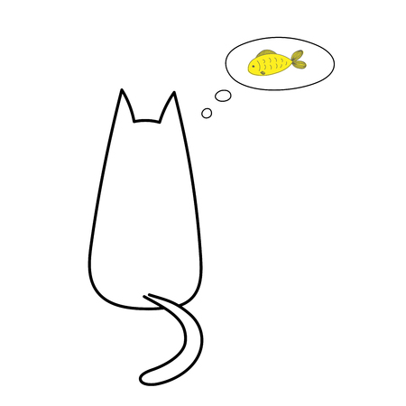 Hand drawn vector illustration with simple outline of a cat from behind with thought bubble containing golden fish. Unfilled outline on white background. Design concept for children.