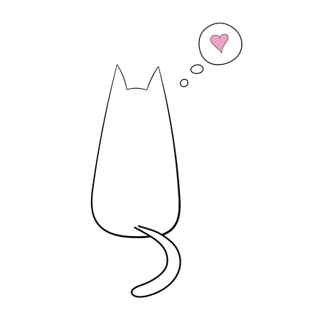 Hand drawn vector illustration with simple outline of a cat from behind with thought bubble containing pink heart. Unfilled outline on white background. Design concept for children. Illustration