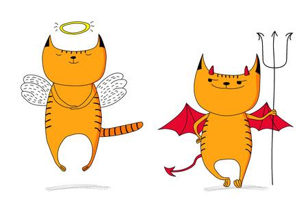 Desenhos desenhados à mão do Doodles do vetor do gato engraçado do anjo engraçado e do gato do diabo. Objetos isolados no fundo branco. Conceito de design para crianças - poster, cartão postal, adesivo, t-shirt, caneca ou impressão de bolsa. Foto de archivo - 88891413