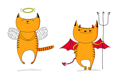 Hand drawn vector doodles of cute funny angel cat and devil cat. Isolated objects on white background. Design concept for children - poster, postcard, sticker, t-shirt, mug or bag print.