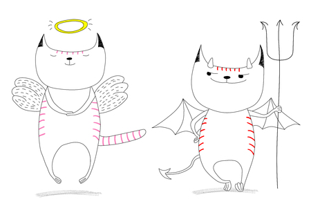 Hand drawn vector doodles of cute funny angel cat and devil cat. Isolated unfilled outlines. Design concept for children - poster, postcard, sticker, t-shirt print.