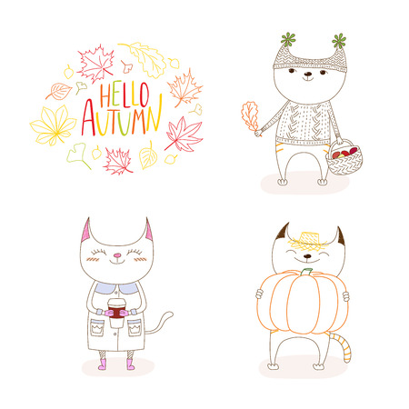 Hand drawn vector illustration of cute cats, with paper cup, basket with mushrooms, pumpkin, with wreath of leaves and text Hello Autumn. Isolated objects on white background. Design concept for kids Illustration