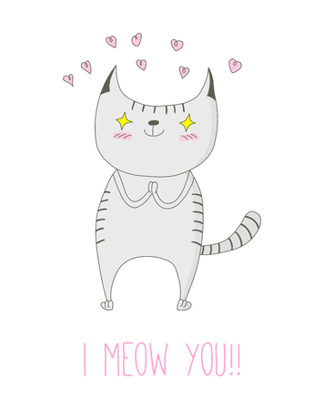 Hand drawn vector doodle of cute funny striped cat in love with pink hearts and text I meow you. Isolated object on white background. Design concept for children - postcard, sticker, t-shirt print.