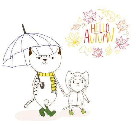 Hand drawn vector illustration of cute cats, big holding an umbrella and little in a rain coat, with wreath of leaves and text Hello Autumn. Isolated objects on white background. Design concept kids. Illustration
