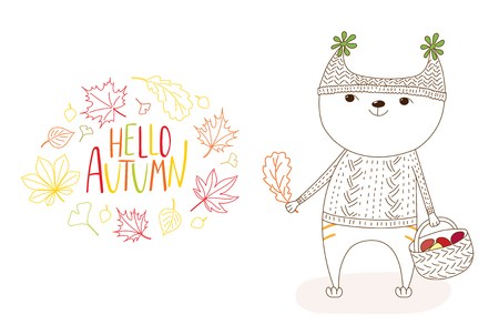 Hand drawn vector illustration of cat in knitted cap and sweater, holding basket with mushrooms, wreath of leaves and text Hello Autumn. Isolated objects on white background. Design concept for kids.