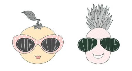 Hand drawn vector illustration of a funny pineapple and orange in big sunglasses with words Cute and Cool written inside them. Isolated objects on white background. Design concept for children.