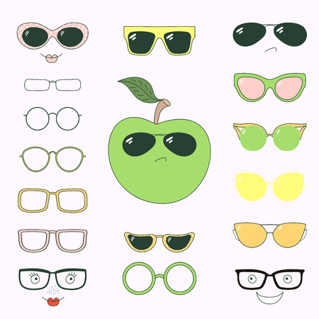Hand drawn vector illustration of a cute funny apple with a set of different faces, glasses and sunglasses. Isolated objects. Design concept for children. Do it yourself.