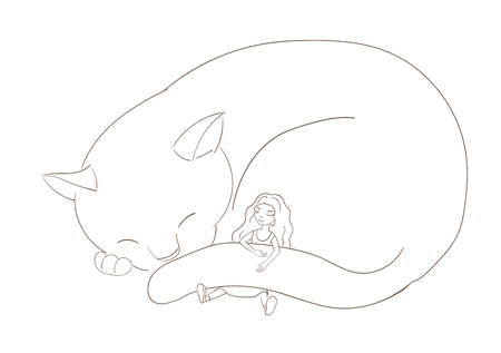 Hand drawn vector illustration of a very big cat, curled up, and little girl with long hair, sleeping together. Isolated objects on white background. Design concept for children. Stok Fotoğraf - 88891482