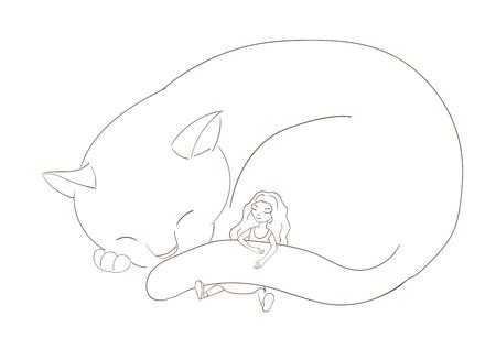 Illustrazione disegnata a mano di vettore di un gatto molto grande, accartocciato e bambina con capelli lunghi, dormendo insieme. Oggetti isolati su sfondo bianco. Concetto di design per bambini. Archivio Fotografico - 88891482