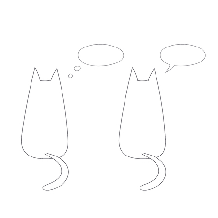 Hand drawn vector illustration with simple outlines of two cats from behind with empty speech bubbles. Unfilled outline on white background. Design concept for children.