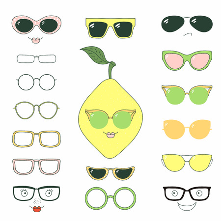 Hand drawn vector illustration of a cute funny lemon with a set of different faces, glasses and sunglasses. Isolated objects. Design concept for children. Do it yourself.