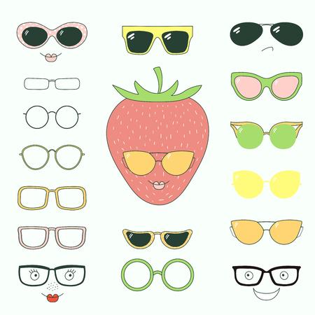 Hand getrokken vectorillustratie van een leuke grappige aardbei met een reeks verschillende gezichten, glazen en zonnebril. Geïsoleerde objecten. Ontwerpconcept voor kinderen. Doe het zelf.