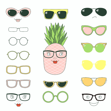 Hand drawn vector illustration of a cute funny pineapple with a set of different faces, glasses and sunglasses. Isolated objects. Design concept for children. Do it yourself.