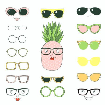 Hand getrokken vectorillustratie van een leuke grappige ananas met een reeks verschillende gezichten, glazen en zonnebril. Geïsoleerde objecten. Ontwerpconcept voor kinderen. Doe het zelf.