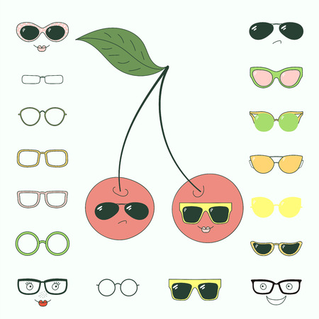 Hand drawn vector illustration of a cute funny cherries with a set of different faces, glasses and sunglasses. Isolated objects. Design concept for children. Do it yourself.