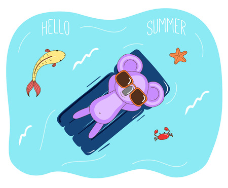 Hand drawn vector illustration of a cute koala in sunglasses floating in the sea on inflatable air mattress, with fish, starfish and crab, text Hello Summer. Isolated objects. Design concept children.