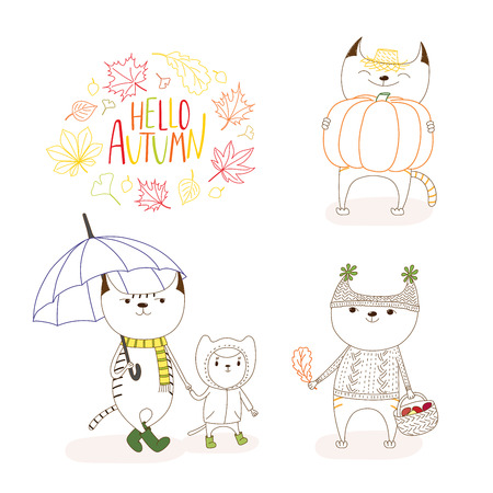 Hand drawn vector illustration of cute cats, in rain coat, with umbrella, mushrooms, pumpkin, with wreath of leaves and text Hello Autumn. Isolated objects on white background. Design concept for kids