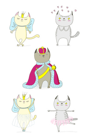 Hand drawn vector doodles of cute funny cats - a cat in love with princess, with hearts, a king in a crown, dancing ballet. Isolated objects on white background. Design concept for children - poster. Illustration
