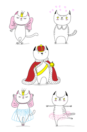 Hand drawn vector doodles of cute funny cats - a cat in love with a beautiful princess, with hearts, a king in a crown, dancing ballet. Isolated unfilled outlines. Design concept for children.