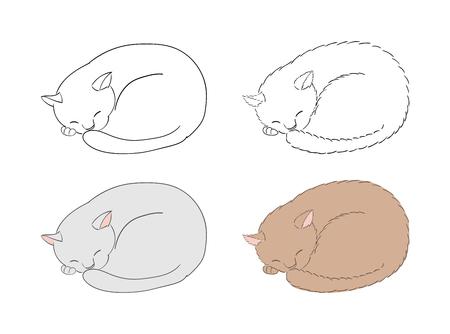 睡眠の手描きのベクトル図は、塗りつぶされていないアウトラインや色の猫をカールしました。白い背景の上の孤立したオブジェクト。デザイン コ