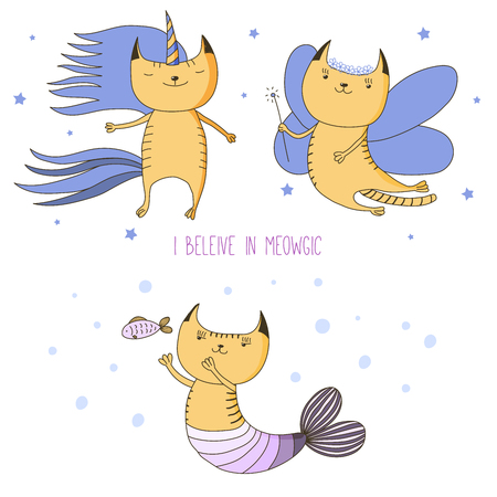 Hand drawn vector illustration of a cute cat unicorn, flower fairy, mermaid, among the stars, with text I believe in meowgic. Isolated objects on white background. Design concept for children.