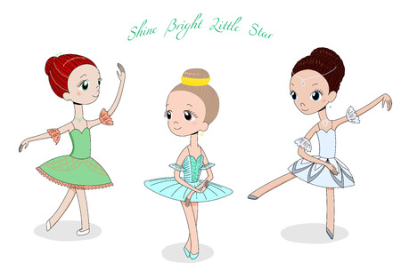 Hand drawn vector illustration of cute little ballerina girls in different poses and colours, text Shine bright little star. Isolated objects on white background. Design concept for children, dancing. Çizim