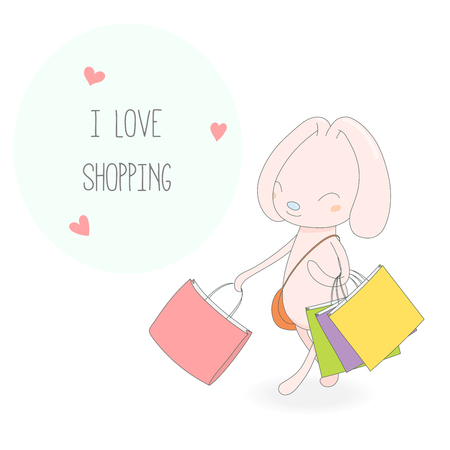 Hand drawn vector illustration of a cute smiling pink bunny with colourful shopping bags, handbag, hearts and text I love shopping. Isolated objects on white background. Design concept for girls.