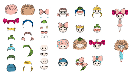 Collection of hand drawn vector doodles of kawaii funny girls heads with different hairstyles, accessories and two bodies. Isolated on white background. Design concept for children. Do it yourself.