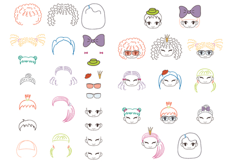 Collection of hand drawn vector doodles of kawaii funny girls heads with different hairstyles and trendy accessories. Isolated objects on white background. Design concept for children. Do it yourself.