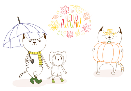 Hand drawn vector illustration of cute cats, with umbrella, in rain coat, with big pumpkin, with wreath of leaves and text Hello Autumn. Isolated objects on white background. Design concept for kids. Çizim