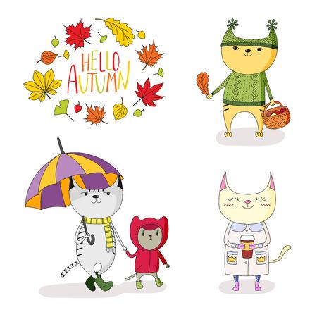손으로 그려진 된 벡터 그림 우산, 버섯, 종이 컵, 나뭇잎과 텍스트의 화 환 비가 코트에 귀여운 고양이 안녕하세요. 흰색 배경에 고립 된 개체입니다. 디자인 개념 아이. 스톡 콘텐츠 - 88891579